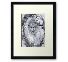 Fairy lady with white peacocks. Framed Print