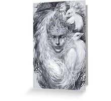 Fairy lady with white peacocks. Greeting Card