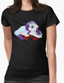 White Queen Rarity on red checkers Womens Fitted T-Shirt