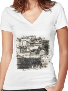 Harbour Houses - Cornwall Women's Fitted V-Neck T-Shirt