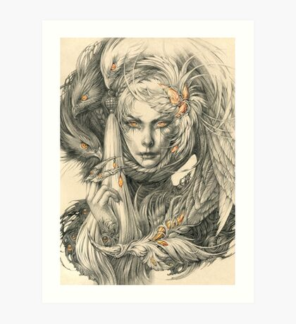 Lady with hawks and amber jewelry Art Print