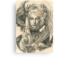 Lady with hawks and amber jewelry Canvas Print
