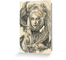 Lady with hawks and amber jewelry Greeting Card