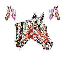 Horse Patchwork love style  Photographic Print