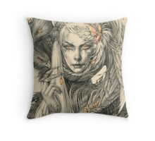 Lady with hawks and amber jewelry Throw Pillow