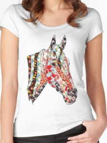 Horse Patchwork cool style  Women's Fitted Scoop T-Shirt