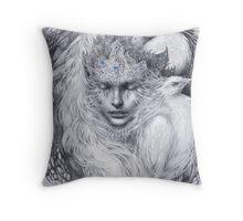 Fairy lady with white peacocks. Throw Pillow