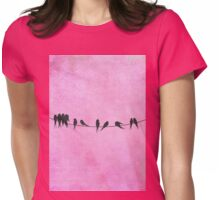 Pink coral Birds On A Wire Womens Fitted T-Shirt
