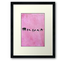 Pink coral Birds On A Wire Framed Print