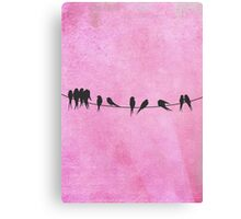 Pink coral Birds On A Wire Canvas Print