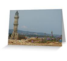 Chania Lighthouse Greeting Card