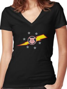 Pigs in Space Women's Fitted V-Neck T-Shirt