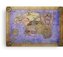 Elders Scrolls map in Ink - COLOR Canvas Print