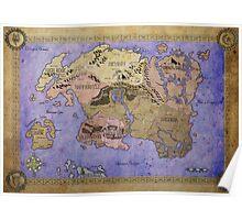 Elders Scrolls map in Ink - COLOR Poster