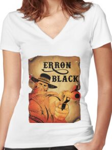 Wanted- Erron Black Women's Fitted V-Neck T-Shirt