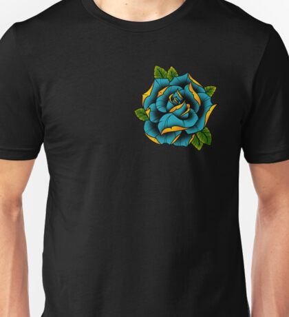 Neotraditional Rose in Blue Unisex T-Shirt