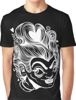 White on Black Queen of Hearts Graphic T-Shirt