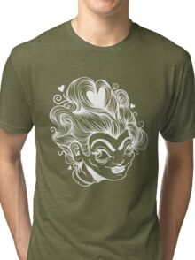 White on Black Queen of Hearts Tri-blend T-Shirt