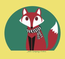 FOX IN BLACK AND WHITE SCARF Kids Tee
