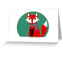 FOX IN BLACK AND WHITE SCARF Greeting Card