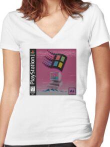 Vaporwave Women's Fitted V-Neck T-Shirt