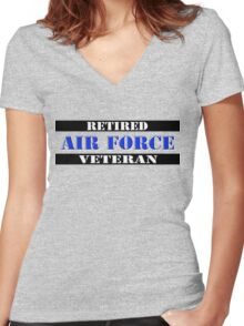 Retired Air Force Veteran Women's Fitted V-Neck T-Shirt