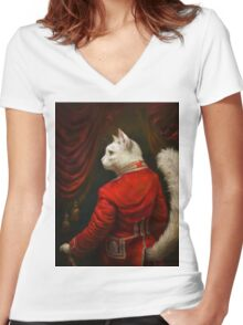 The Hermitage Court Chamber Herald Cat Edited version Women's Fitted V-Neck T-Shirt