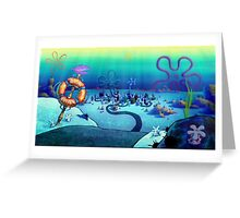 Spongebob Bikini Bottom Sunset Greeting Card