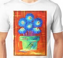 Blue Flowers on Orange Unisex T-Shirt