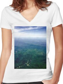 Smoky Mountain View Women's Fitted V-Neck T-Shirt