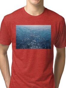 Wavy Blue Sea Water Twinkling under Summer Sun Tri-blend T-Shirt
