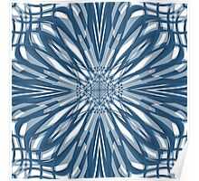 Blue Briar Flower Tile Pattern Poster