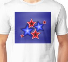 Shiny Blue & Red Stars Unisex T-Shirt