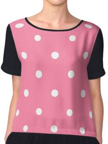 Pink White Polka Dots Chiffon Top