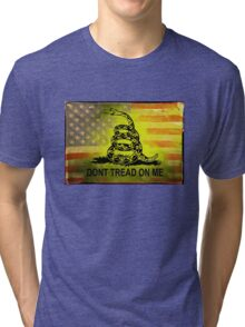 Don't Tread on Me Shirts & Sticker American Flag Background Tri-blend T-Shirt