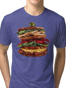 Turkey Club on Rye Sandwich Tri-blend T-Shirt