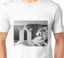 Overlooking the Caldera ~ Black & White Unisex T-Shirt