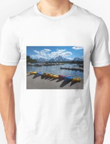 Red, Yellow and Blue Canoes on Shore Unisex T-Shirt