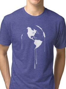 Splatter Earth 1 (white) Tri-blend T-Shirt