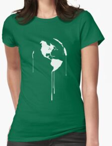 Splatter Earth 1 (white) Womens Fitted T-Shirt