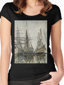 Claude Monet - Boats In A Harbour 1873. Famous Paintings. Impressionism Women's Fitted Scoop T-Shirt