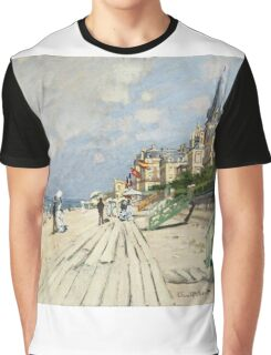 Claude Monet - Beach At Trouville 1870. Famous Paintings. Impressionism Graphic T-Shirt