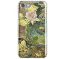 Vintage famous art - Childe Hassam - Roses In A Vase iPhone Case/Skin