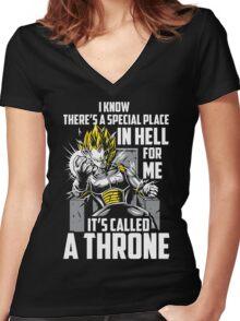 Super Saiyan Vegeta Throne Shirt Women's Fitted V-Neck T-Shirt
