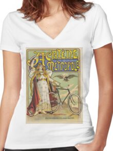 Vintage famous art - Charles Tichon - After Lucien Baylac - Acatene Metropole Poster  Women's Fitted V-Neck T-Shirt