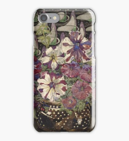 Vintage blue art - Charles Rennie Mackintosh  - Petunias iPhone Case/Skin