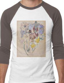 Vintage blue art - Charles Rennie Mackintosh  - Mont Louis - Flower Study Men's Baseball ¾ T-Shirt