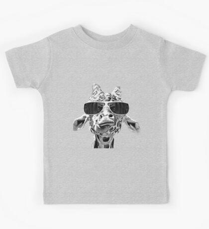 Giraffe With Eyeglass Kids Tee