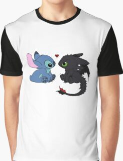 Stitch and Toothless Love Graphic T-Shirt