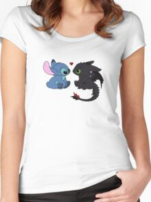 Stitch and Toothless Love Women's Fitted Scoop T-Shirt